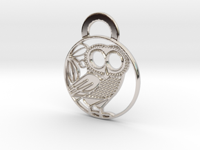 Owl of Athena Pendant in Rhodium Plated Brass