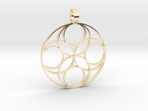 Eternal  Flower Earth pendant 3-2 in 14k Gold Plated Brass