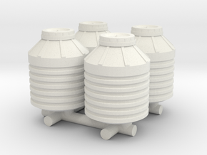 1-87 Scale Water Storage Tanks in White Natural Versatile Plastic