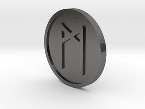 Mannaz Coin (Elder Futhark) in Polished Nickel Steel