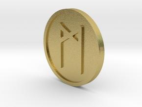 Mannaz Coin (Elder Futhark) in Natural Brass