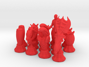 Alien Chessmen in Red Processed Versatile Plastic
