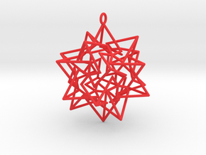 Star Dodecahedron Pendant in Red Processed Versatile Plastic