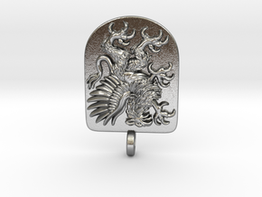 Griffin Heraldic Coat of Arms Pendant. in Natural Silver
