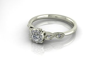Detailed illusion ring NO STONES SUPPLIED in 14k White Gold