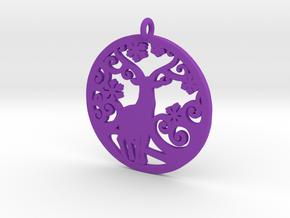 Deer-Circular-Pendant-Stl-3D-Printed-Model in Purple Processed Versatile Plastic: Medium