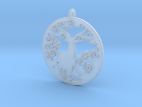 Deer-Circular-Pendant-Stl-3D-Printed-Model in Smoothest Fine Detail Plastic: Medium