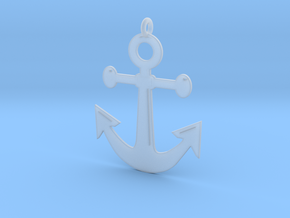 Anchor Pendant 3D Printed Model in Smoothest Fine Detail Plastic: Medium