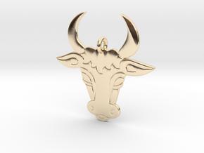 Bull Face Pendant 3D Printed Model in 14K Yellow Gold: Medium