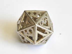 D20 Balanced - Numbers Only, Small Heart Crit in Polished Bronzed-Silver Steel