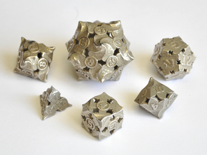 Fire Dice Set (Large) - Balanced in Polished Bronzed-Silver Steel
