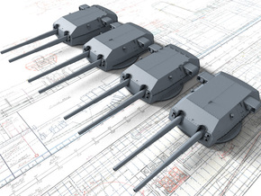 "1/720 H Class 40.6 cm/52 (16"") SK C/34 Guns in Smoothest Fine Detail Plastic"