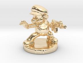 Mario Bros survivor 1/60 miniature for games rpg in 14k Gold Plated Brass