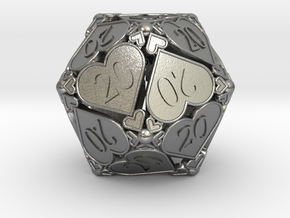 D20 Custom - Hearts (All 20s) in Natural Silver