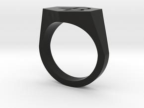 4B engraved ring-8US in Black Premium Versatile Plastic