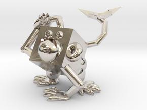 Monkey #3DblockZoo in Rhodium Plated Brass