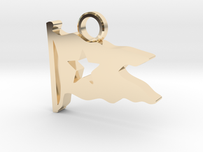 Titanic Pendant: White Star Pennant in 14k Gold Plated Brass