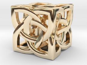 Celtic Fudge / Fate Dice dF in 14k Gold Plated Brass