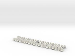 Tatra T3/T4/K2/T2R Plastic seats - double 0 [20x] in White Natural Versatile Plastic