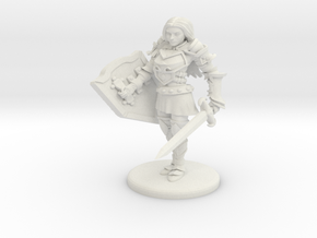 Human Female Fighter/Paladin in White Natural Versatile Plastic