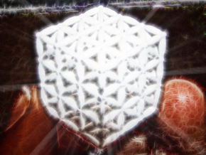 "3-D FLOWER OF LIFE ""META-CUBE"" in White Strong & Flexible Polished"