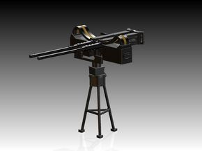 2 x Twin Modern 50 Cal Browning on Tripod 1/24 in Smooth Fine Detail Plastic