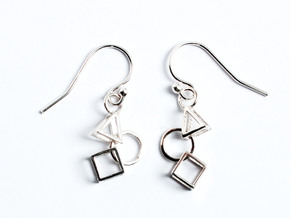 Bauhaus Earrings in Polished Silver (Interlocking Parts)