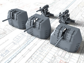 "1/700 RN 4"" MKV P Class Guns Closed Ports x5 in Smoothest Fine Detail Plastic"