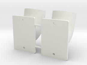 PM028-RC Pro Mod Bullhorn Side Exhaust Set in White Natural Versatile Plastic