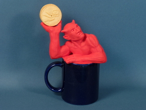Coffee mug-sized golf ball devil  in Red Processed Versatile Plastic