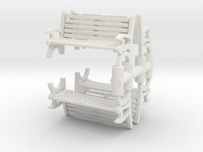Bench (4 pieces) 1/87 in White Natural Versatile Plastic