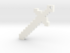 Minecraft Sword Keychain in White Processed Versatile Plastic