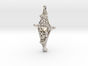 Diamond Bone Pendant in Rhodium Plated Brass