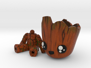 Baby Groot articulated Planter in Natural Full Color Sandstone: Small