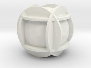 Printle Dice - 40 mm in White Natural Versatile Plastic