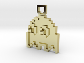 Pixel Art  - Pacman - Ghost in 18k Gold Plated Brass