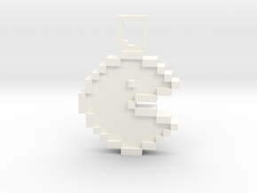 Pixel Art - Pacman  in White Processed Versatile Plastic