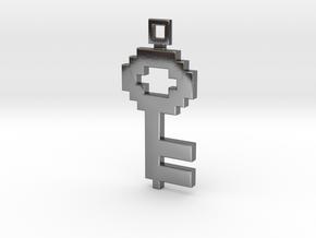 Pixel Art  -  Key  in Polished Silver