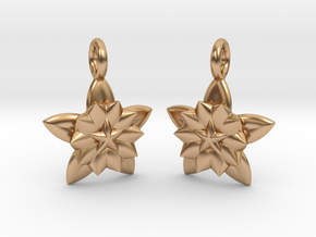 Flower Earrings in Polished Bronze