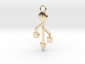 Pendant - USB Trident ~ mk-1 in 14K Yellow Gold