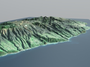 Madeira Island Terrain Map in Matte Full Color Sandstone