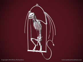 Wyvern Skeleton with Hanging Perch in White Natural Versatile Plastic