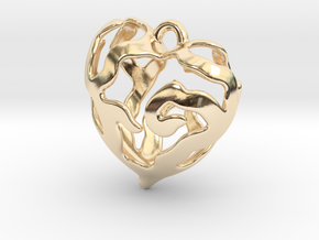 Heart Tree Pendant in 14K Yellow Gold