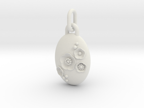 S46 Cherry Blossom Pendant 4 with Bail in White Natural Versatile Plastic