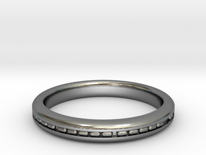 3mm Morse Code Ring [Customisable] - US Size 8 in Polished Silver: 8 / 56.75