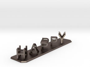 Happy Birthday in Polished Bronzed-Silver Steel