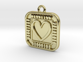 Pendant - Geek Love in 18k Gold Plated Brass: d10