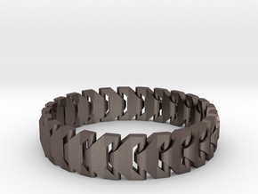 Large Articulating Print in Place Bracelet Version in Polished Bronzed-Silver Steel