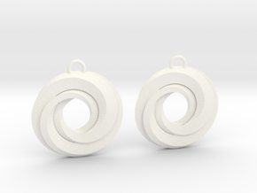 Geometrical earrings no.21 in White Processed Versatile Plastic