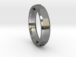Geometric Men's ring in Polished Silver